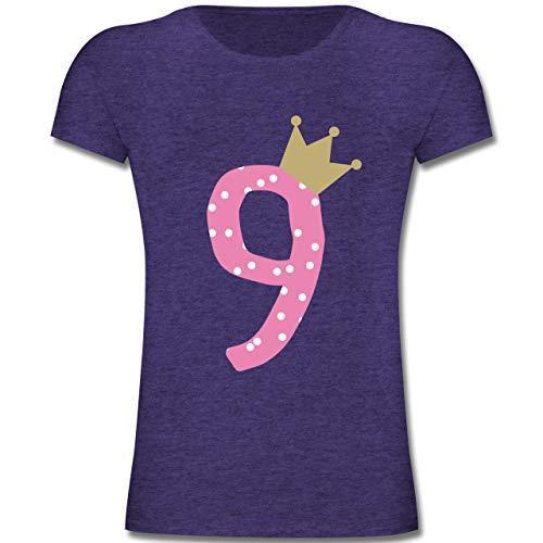 Geburtstag Kind - 9. Geburtstag Krone Mädchen Neunter - 164 (14-15 Jahre) - Lila Meliert - F131K - Mädchen Kinder T-Shirt (Kronen Für 15)