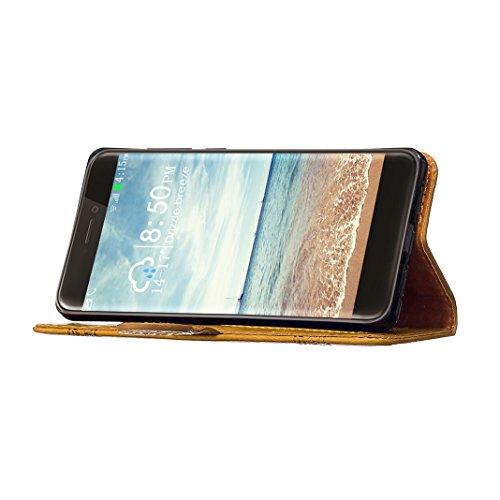 Huawei P8 Lite 2015 Flip Cover in Pelle PU, Custodia Huawei P8 Lite 5.0 Portafoglio, Moon mood® Elegante Sbalzato Embossed Modello Libro Custodia e Cuoio PU Portafoglio Leather Case con Supporto Stan Oro