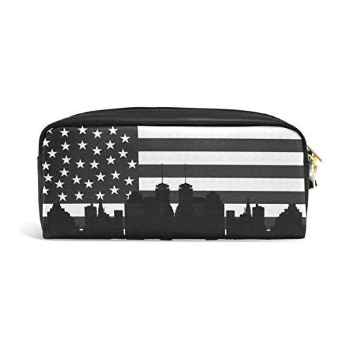 MalpLENA Boston USA Black Flag Pen Hard Case Leather Stationery