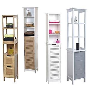 TENDANCE Mueble Columna Sala de baño – 3 estantes y 1 Espacio de Almacenamiento 1 Puerta – Color: Blanco y Gris