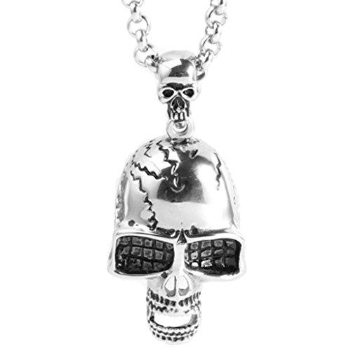 Beydodo Schmuck Titan Halskette mit Anhänger Herren Totenkopf Silber Kette Hip Hop Partnerkette