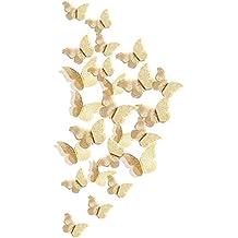 FiveSeasonStuff 24pcs 3D Oro Espejo Hueco Mariposa Pegatinas de Pared / Tarjeta Papel Decoración de Pared
