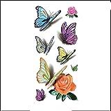 3D Fiore Farfalla Piccoli Adesivi Tatuaggi Freschi Trasferimento Temporaneo Impermeabile Rimovibile Partito Decalcomania Accessori Per Adulti Regalo Festival 10X21Cmx4 Pz