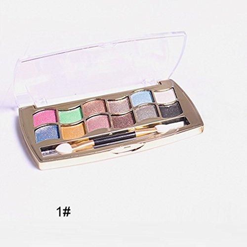 Internet 12 couleurs femmes Pro Shimmer Eyeshadow Palette & brosse cosmétiques maquillage Set 1#