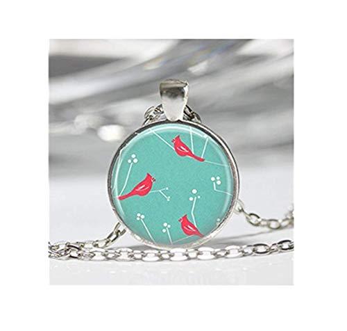 Kostüm Cardinal Herren - Rot Cardinals auf Aqua Hintergrund Vogel Halskette