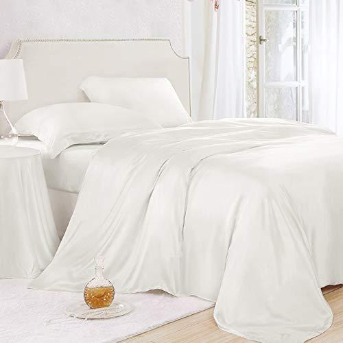 ElleSilk Luxuriöse Seide Bettwäsche Set 3-teilig, Seide Bettbezug Set 135 x 200 cm, 22 Momme, Atmungsaktiv und Weich, Elfenbein (König Bettwäsche-sets Elfenbein)