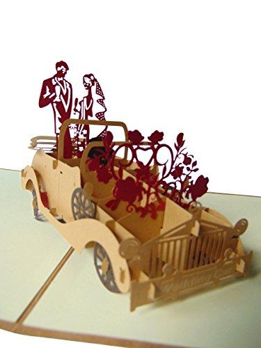 Pu11, Stilvolle 3D Pop Up Karte mit Umschlag zur Hochzeit, filigranes Kunstwerk als Hochzeitskarte, als Glückwunschkarte oder zur Einladung als Einladungskarte, Grußkarte, Glückwunschkarte