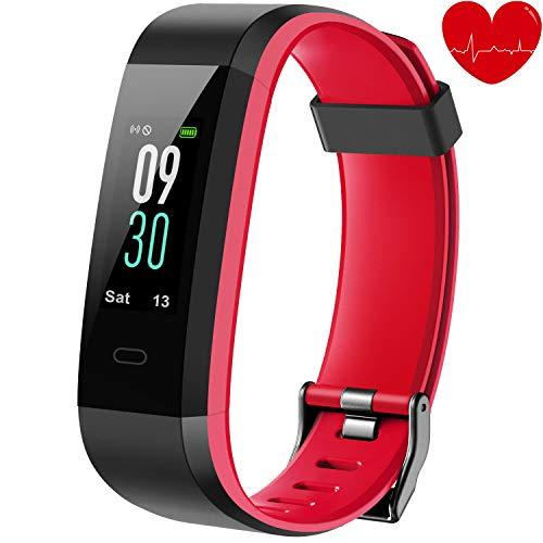 alwaiiz Fitness Armband,Fitness Tracker mit Aktivitätstracker,Pulsuhren,Schlafmonitor,Schrittzähler Wasserdicht Fitness Uhr Zweifarbiger Armbanduhr für Damen Herren (Rot)
