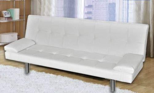 Gstore divano letto 3 posti reclinabile ecopelle nero e bianco con cuscini nuovo modell (bianco)