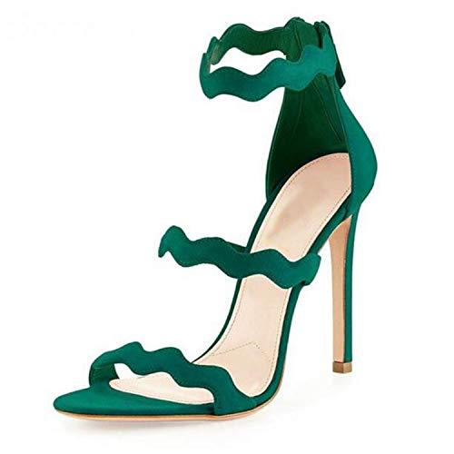 Women Sandals Shoes High Heels Zipper Plus Size Custom Color Sandalias Mujer 2018 Gladiator Sandals Women Green 9 -