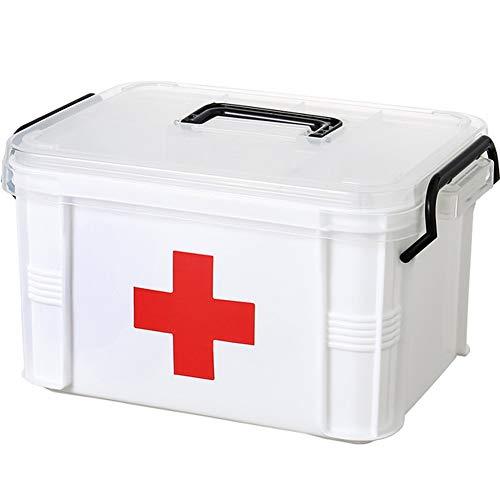 HDJX Medizinbox für Haushalt, transparent, große Kapazität, Schichtmedizin, tragbar, für Familie, Medizinprodukte, kleine Erste-Hilfe-Box