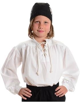 Piratenhemd weiß Kinder-Schnürhemd Baumwoll-Hemd S-XXXL