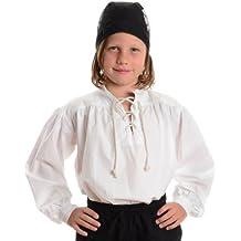 HEMAD Camisa pirata para niños - Algodón claro - S - XXXL Blanco