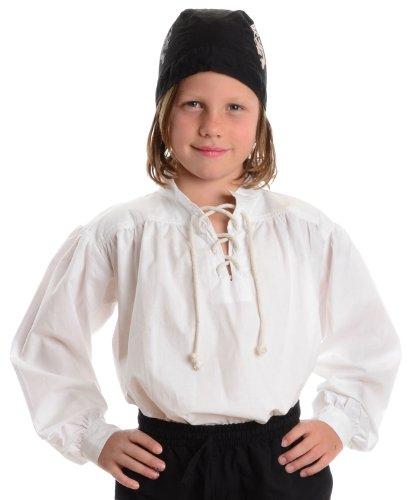 (Piratenhemd weiß Kinder-Schnürhemd Baumwoll-Hemd L)