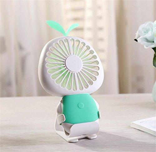 ELEGENCE-Z Stern Gras Mini Fan USB Lade LED Bunte Nachtlicht Kinder Mini Fan Hause Schlafsaal Im Freien Perfekte Begleiter,Green