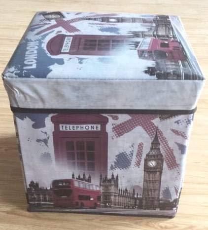Dorte Hogar Puff Plegable Caja con Tapa London 30 x 30 x 30 cm