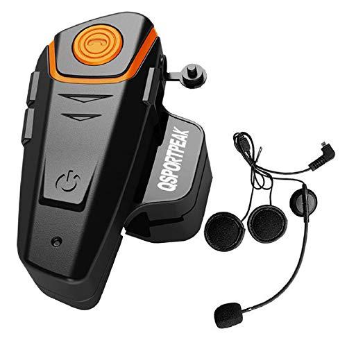 Gegensprechanlage Motorrad Bluetooth Freisprechanlage Intercom mit 1000m Reichweite, Verbindung mit Handy, Navi ideal für Motorrad, Motorschlitten, Ski- und Radfahren (1 Set)