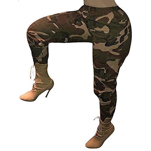 YWLINK Damen Hohe Taille Camouflage Woodland LäSsige Hosen LäSsige Joggerhose Hip Hop Rock Hose(Gelb,XXL)