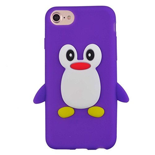 Voguecase® für Apple iPhone 7 Plus 5.5 hülle, Schutzhülle / Case / Cover / Hülle / TPU Gel Skin (Katzenbär Muster/Lila) + Gratis Universal Eingabestift Pinguine Muster/Lila
