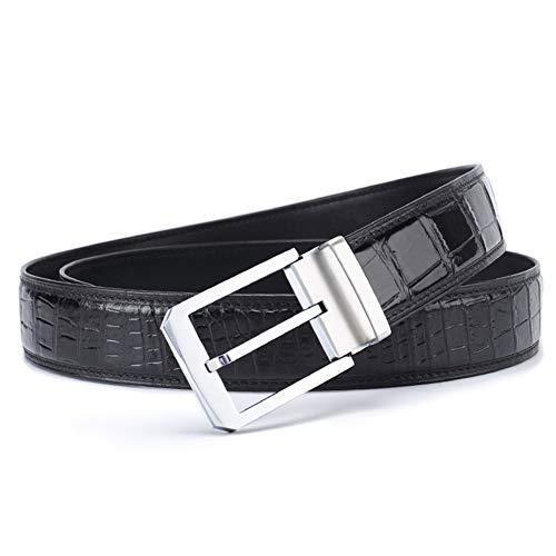 VIWIV Hosen Gürtel Mode Business Casual Dating Leder Herren Gürtel Ganzen Krokodilgürtel Körper,Black,110cm