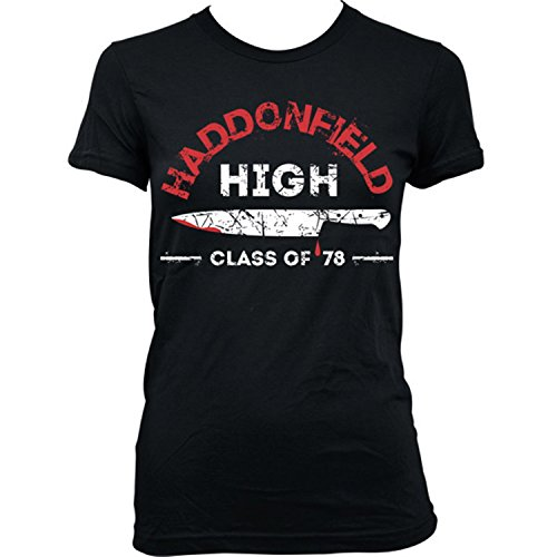 9227L Haddonfield High School Damen T-Shirt Halloween Friday The 13th John Carpenter Michael Myers - Haddonfield High Halloween