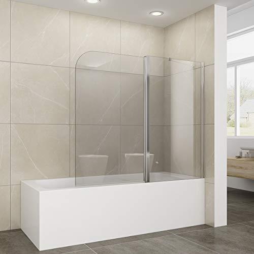Elegant 120 x 140 cm Duschabtrennung für Badewanne, 2-teilig Falttür