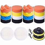 JoyFan 22pcs 7,6 cm Polierpads Polierpads Set Wachsen Versiegeln Glasschwamm Bohrer Adapter Kit, Schwamm, Multi, Einheitsgröße