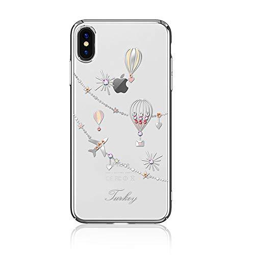 Kingxbar custodia per iphone xs max, custodia per iphone xs max, cristalli con diamanti bling di swarovski element cover rigida per pc trasparente per apple iphone xs max