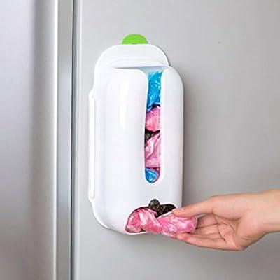 HuntGold 1X Grocery Bag Holder Organizer Dispenser White Wall Door Plastic Shelf Mount Rack