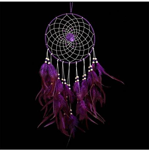 Große indischen Kreis Dream Catcher Wind Chimes violett Feder traditionellen Stil Anhänger Wand hängende Dekoration Home Geschenk
