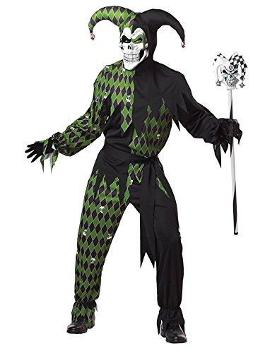 Böser Kostüm Halloween Clown (Böser Clown Harlekin Halloween-Kostüm schwarz-grün)