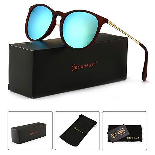 SUNGAIT Sunait Vintage Runde Sonnenbrille für Damen, klassischer Retro-Stil, (Brown Frame (Matte Finish)/Yellow-green Lens), Freie Größe - Frame Green Matte