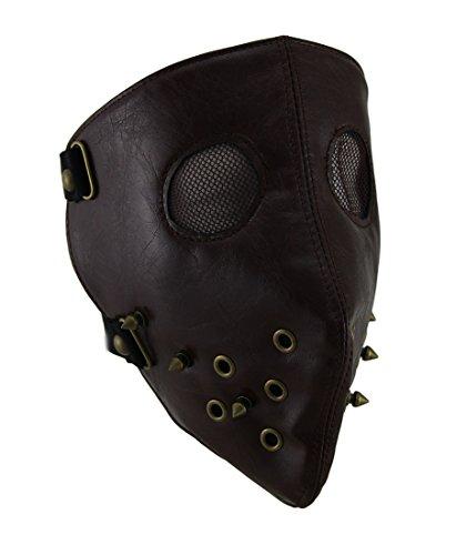 Kostüm Schneemobil - Gesichtsmaske, mit Nieten, Braun
