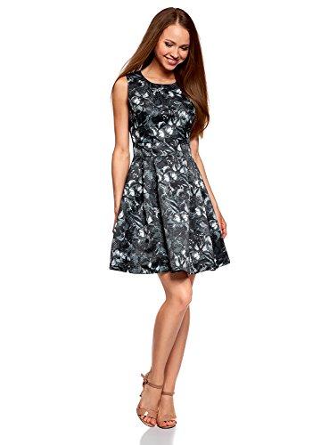 oodji Ultra Damen Tailliertes Kleid mit Ausgestelltem Rock, Grau, DE 38 / EU 40 / M (Taille Elastische Rock Butterfly)