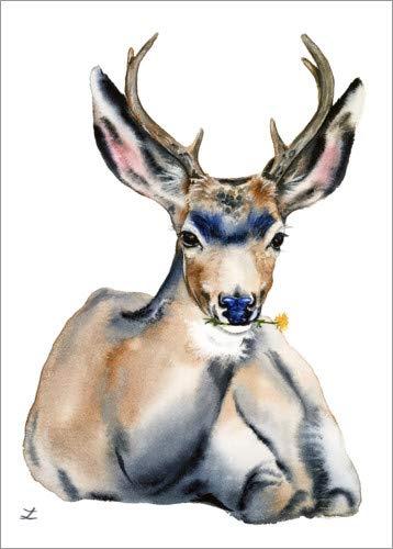 Posterlounge Acrylglasbild 30 x 40 cm: Ruhender Hirsch von Zaira Dzhaubaeva - Wandbild, Acryl Glasbild, Druck auf Acryl Glas Bild