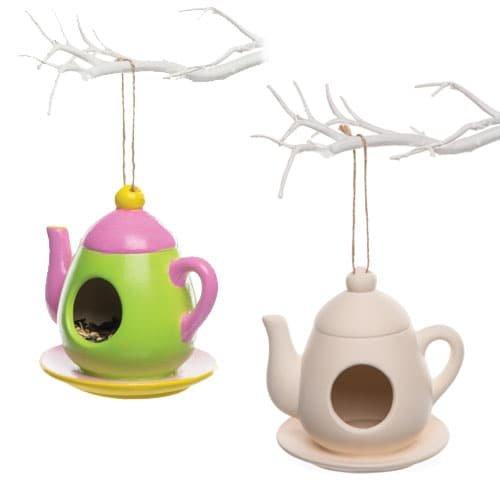 """Baker Ross Keramik-Futterhäuschen \""""Teekanne\"""" für Kinder als Bastel- und Deko-Idee für Jungen und Mädchen (2 Stück)"""
