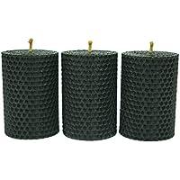 Kerzen aus Bienenwachs, 8,5cm x 6 cm, schwarz, handgerollt, 3 Stück,