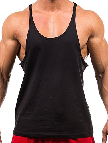 Herren Einfarbiges bodybuilding-Tanktop, f¨¹r Fitness / Muskeltraining Racerback-R¨¹ckseite (Farbe-block-polo Jersey)