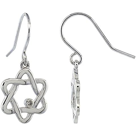 Revoni-Catenina con pendente a forma di stella di David, in argento Sterling, con orecchini con diamante 1/8 in., 29 cm di altezza