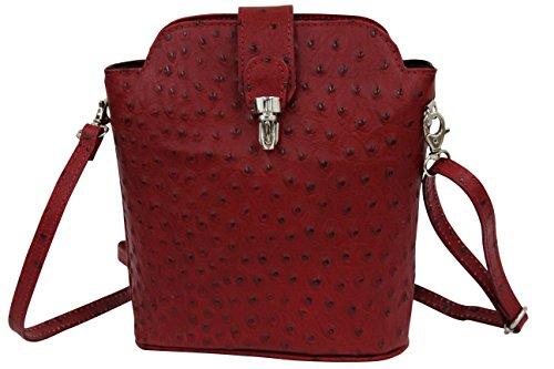 AMBRA Moda Kleine Ledertasche, Umhängetasche, Schultertasche SL704 (Rot) (Straußenleder Rote)