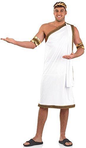 us Cäsar Weiß Gold Toga altertümlich Griechisch Kostüm Kleid Outfit M-XL - Weiß, X-Large (Toga Kleid Kostüme)