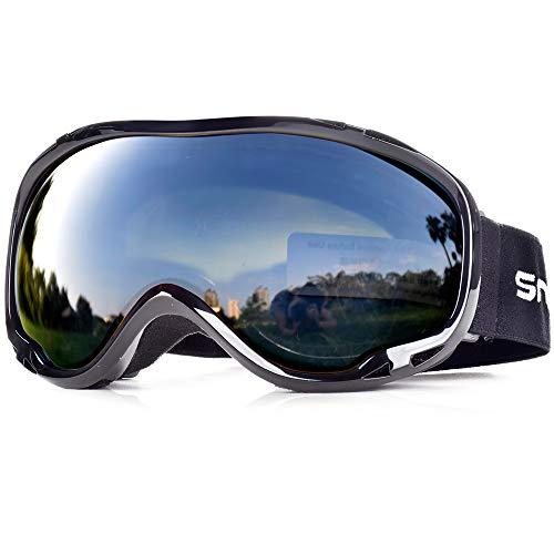 SnowledgeSkibrilleDamen& Herren SkiGogglesUV400 Schutz Doppelscheibe Anti-BeschlagHelmkompatiblefür Brillenträger (B-Black)