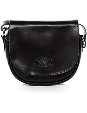 SID & VAIN® Schultertasche BRIGHTON - Damen Umhängetasche klein Ledertasche - Handtasche im Vintage-Look Damentasche...