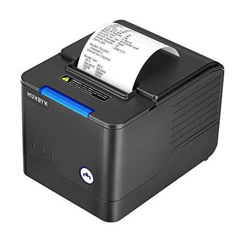 Thermodrucker Bondrucker Quittungsdrucker Munbyn 260mm/s Bon drucker Auto-Cut Kassenlade, Hochgeschwindigkeits Ethernet (LAN), ESC/POS eingestellt-EU Schwarz