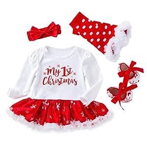 niñito niños Mameluco Conjunto de Trajes de Falda de Mameluco con Estampado navideño para niñas pequeñas de 4 Piezas de… 6