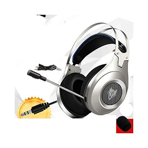 Best Casque Stereo Gaming Kopfhörer Deep Bass Game Kopfhörer Headset mit Mikrofon LED Licht für PC Computer Gamer Beige 6 One Size - Genius Portable Headset