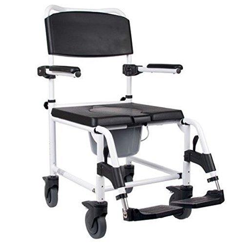 duschstuhl fahrbar Mobilex Kakadu Toilettenstuhl, fahrbarer Duschstuhl, Toilettenrollstuhl, Rollstuhl mit WC-Eimer, Standard, Sitzbreite 45 cm