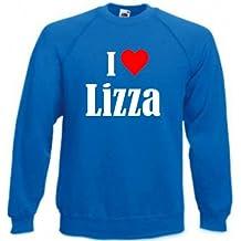"""Sweatshirt """"I Love Lizza"""" für Damen Herren und Kinder ... in den Farben Schwarz Weiss und Blau mit Aufdruck"""