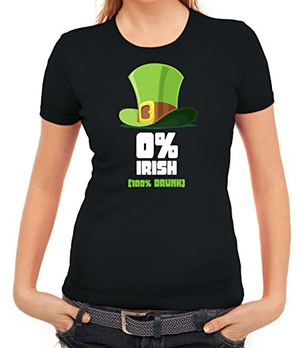 Saint Patrick´s Day St. Patricks Day Damen T-Shirt mit 100% Drunk Motiv Schwarz