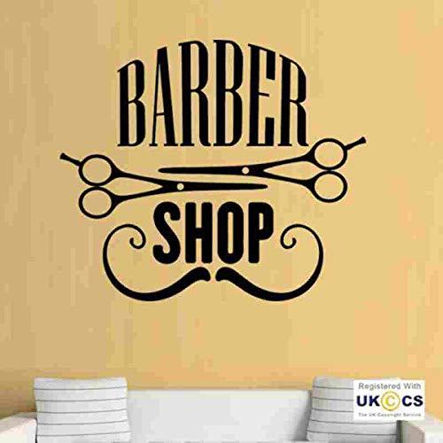 Mann Barber Shop Aufkleber Schere Brot Aufkleber Haarschnitt Rasierer Krone Poster Vinyl Wandkunst Aufkleber Dekor Fenster 58X67CM - Dragon Scheren